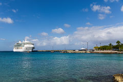 Luxury Cruise Ship Docked in Bay on St Croix. White Luxury Cruise Ship Docked at St Croix Royalty Free Stock Photography