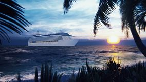 A luxury cruise ship docked near an island with palm trees and tropical plants in the wind at sunset. Beautiful summer. Loop background. Beautiful summer loop stock video footage