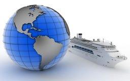 Luxury cruise ship on globe background Stock Photo