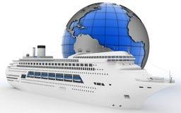 Luxury cruise ship on globe background Stock Images
