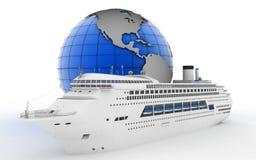 Luxury cruise ship on globe background Royalty Free Stock Image