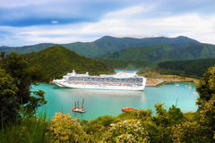Luxury Cruise Ship. Huge luxury cruise ship, vacation, holiday. New Zealand royalty free stock photo