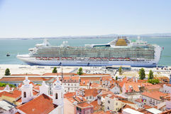 Luxury cruise ship in Lisbon. Portugal, Europe Stock Photos