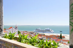 Luxury cruise ship in Lisbon. Portugal, Europe Stock Photo