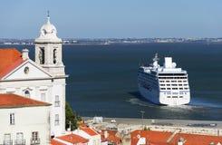 Luxury cruise ship in Lisbon Royalty Free Stock Image
