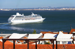 Luxury cruise ship in Lisbon Royalty Free Stock Images