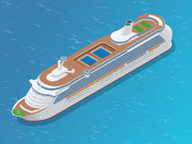 Luxury cruise ship. A modern liner is in an ocean. Flat 3d vector isometric illustration Royalty Free Stock Images