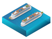 Luxury cruise ship. A modern liner is in an ocean. Flat 3d vector isometric illustration Royalty Free Stock Photo