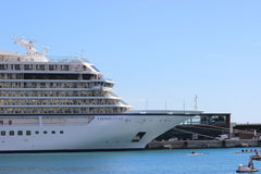 Luxury Cruise Ship in Monaco Harbor Stock Photography