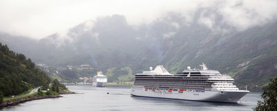 Luxury cruise ship in Norway Royalty Free Stock Images