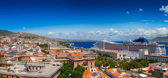 Luxury cruise ship in the port of Messina, Italy. Stock Photo