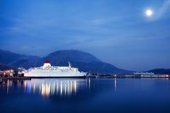 Luxury Cruise Ship Sailing at Sunset Royalty Free Stock Photo