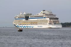 Luxury cruise Ship. On the sea in Kiel, Germany Stock Photography
