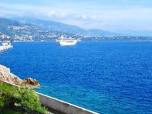 Luxury cruise ship in sea port stock photos