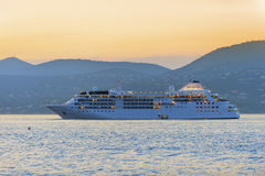 Luxury cruise ship at sunset Royalty Free Stock Images