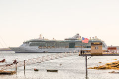 Luxury Cruise Ship by Ticket Booth Royalty Free Stock Image