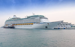 Luxury Cruise Ship. The luxury cruise ship, Voyager of the Seas, docked at the Marina South Pier of Singapore Stock Image