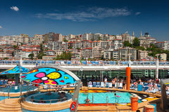 Luxury cruise ship was docked in the downtown of Istanbul city Royalty Free Stock Photography