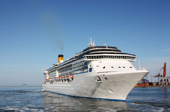 Luxury cruise ship. Luxury white cruise ship in marina Stock Image