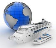 Luxury cruise ship and white yacht on globe background. 3d render illustration Stock Photo
