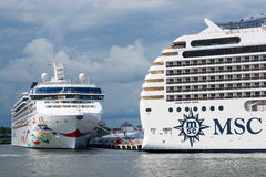 Luxury cruise ships MSC Poesia and Norwegian Star Stock Images