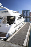 Luxury cruiser. Cruiser moored in a marina royalty free stock photo
