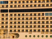 Luxury cruising ship closeup. view from the left. Royalty Free Stock Images