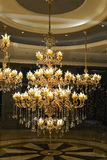 Luxury crystal ceiling lighting in a shopping mall Royalty Free Stock Images