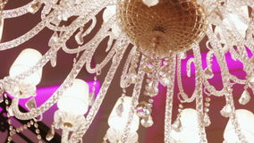 Luxury crystal chandelier stock video