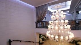 Luxury Crystal Chandelier. Camera is turned by elegant crystal chandelier stock video footage