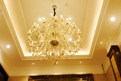 Luxury crystal chandelier in hotel  hall Royalty Free Stock Photography