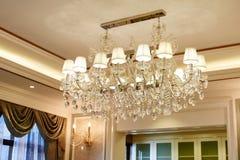 Luxury crystal chandelier lighting Stock Images