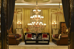 Luxury crystal  chandelier lighting hall decoration Stock Images