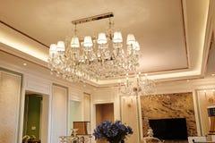 Luxury crystal chandelier lighting in villa  living room Royalty Free Stock Photos