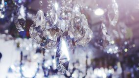 Luxury crystals of a classic chandelier. stock video footage