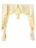 Luxury curtain. With golden luxury tassels isolated on white Stock Photos