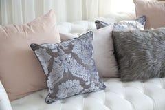 Luxury cushion. On home sofa stock photos