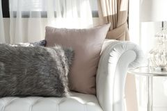 Luxury cushion. On home sofa stock photography