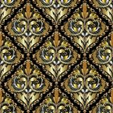 Luxury 3d Baroque Damask seamless pattern. Ornate vintage lace b. Ackground. Grid lattice gold backdrop. Antique gold silver 3d flowers, leaves, swirls, dots Royalty Free Stock Photos