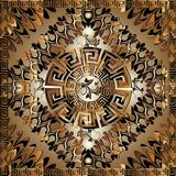 Luxury 3d geometric greek key panel pattern. Square meanders orn. Ament with figured surface frame, floral borders, round mandala. Greek flowers. Ornate design Royalty Free Stock Images