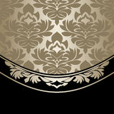 Luxury damask Background decorated the ornate Border. Silver and black Stock Photo