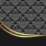 Luxury damask Background with elegant Border Stock Photo