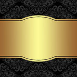 Luxury damask Background with golden Frame for your Information Stock Photos