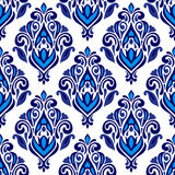 Luxury Damask floral seamless pattern blue Royalty Free Stock Photography
