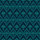 Luxury Damask seamless pattern. Blue color. Vector Royalty Free Stock Photo