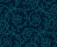 Luxury Damask seamless pattern. Blue color. Vector Royalty Free Stock Photos