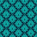 Luxury Damask seamless pattern. Blue color. Vector Royalty Free Stock Image
