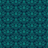 Luxury Damask seamless pattern. Blue color. Vector Stock Photo