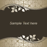 Luxury dark Background with silver floral Borders. Royalty Free Stock Photo
