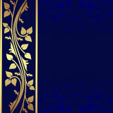 Luxury dark blue Background with golden border. Royalty Free Stock Photography